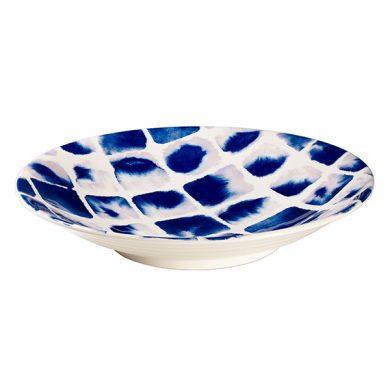 Janice Tchalenko Blue Squares 34cm Low Bowl