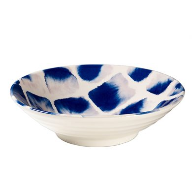 Janice Tchalenko Blue Squares 24cm Footed Bowl