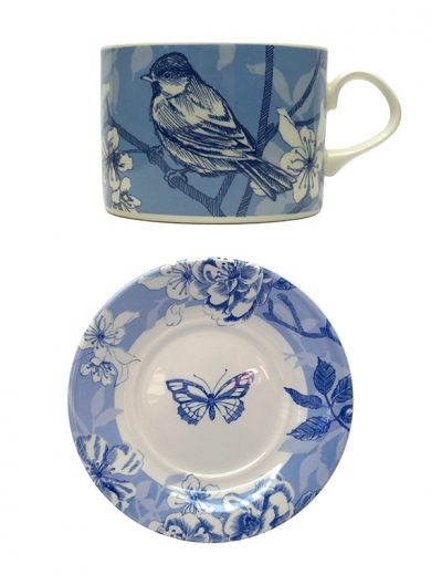 Bluebird Toile tea cup and saucer set by Royal Stafford