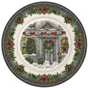 Christmas Homes Pottery Dinner Plate