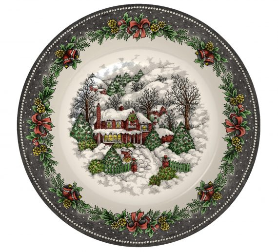 Christmas Village Pottery Cereal Bowl