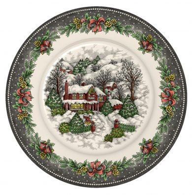 Christmas Village Pottery dinner plate