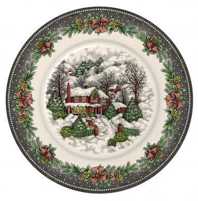 Christmas Village Pottery dinner plate