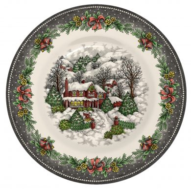 Christmas Village Pottery side plate