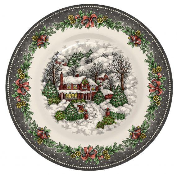 Christmas Village Pottery side plate