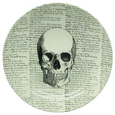 skull with script pasta bowl