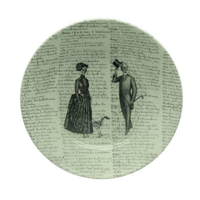 victorian couple with script- cereal bowl
