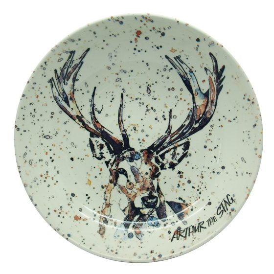 Contemporary Christmas pasta bowl featuring a stag