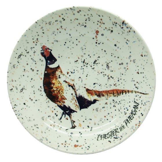 Contemporary Christmas plate featuring a pheasant