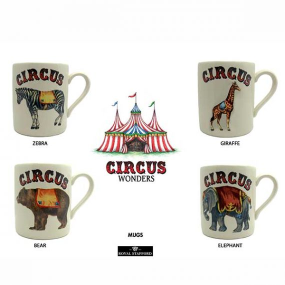 Choose one of the four circus mugs from Royal Stafford's circus collection.