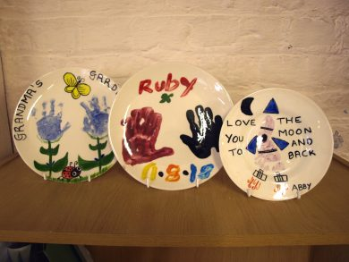 Ceramic Cafe plates painted at the Mother and Toddler sessions.