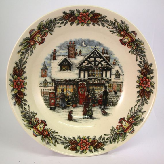 christmas toy shop side plate